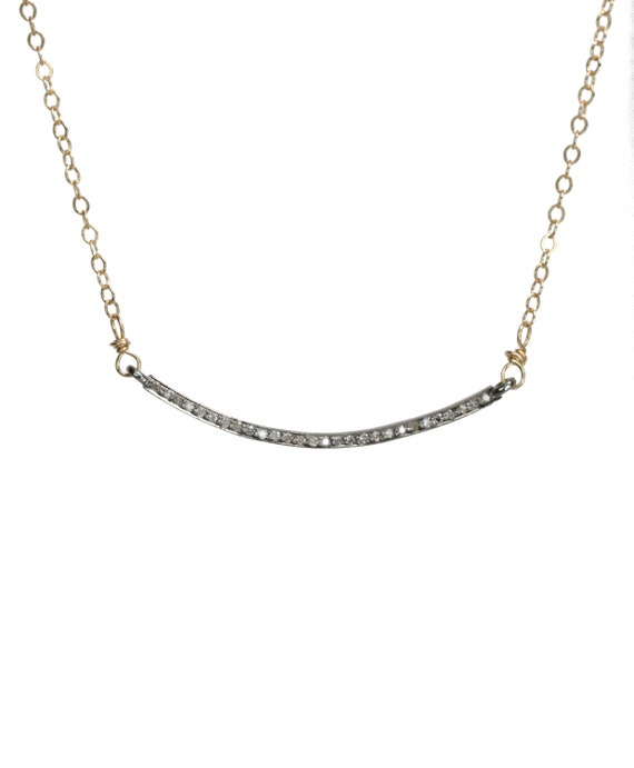 Genuine Pave Diamond Curved Bar Necklace*Mixed Metal Oxidized Sterling Silver*14k Gold Filled*Diamond Smile Choker Necklace*Holiday Gift