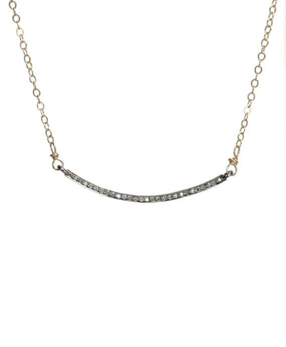 Genuine Pave Diamond Curved Bar Necklace*Mixed Metal Oxidized Sterling Silver*14k Gold Filled*Diamond Smile Choker Necklace