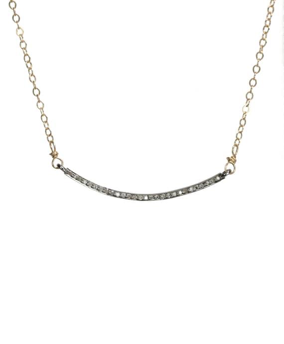 Genuine Pave Diamond Curved Bar Necklace*April Birthstone Mother's Day Sterling Silver*14k Gold Filled*Diamond Smile Choker Necklace