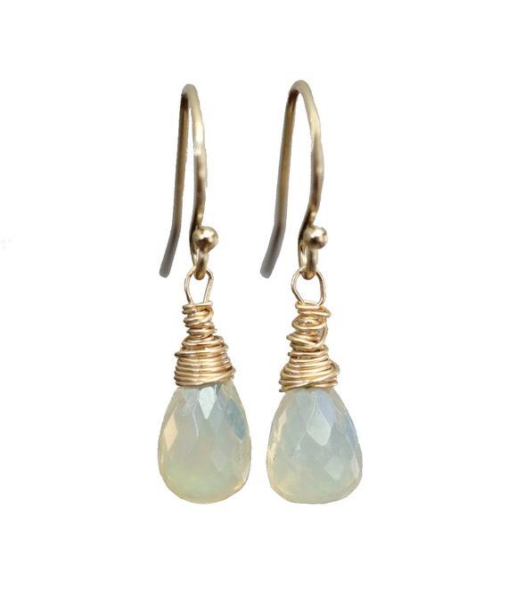 Opal Teardrop Earrings*Ethiopian Welo Opal*October Birthday Gift*Fire Opal Earrings* CHOOSE your pair*14k gold filled