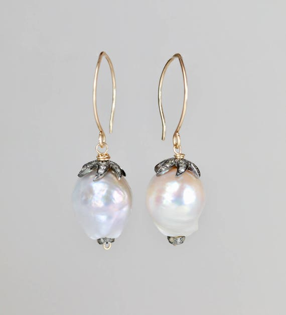 White Pearl Drop Earrings with pave diamonds