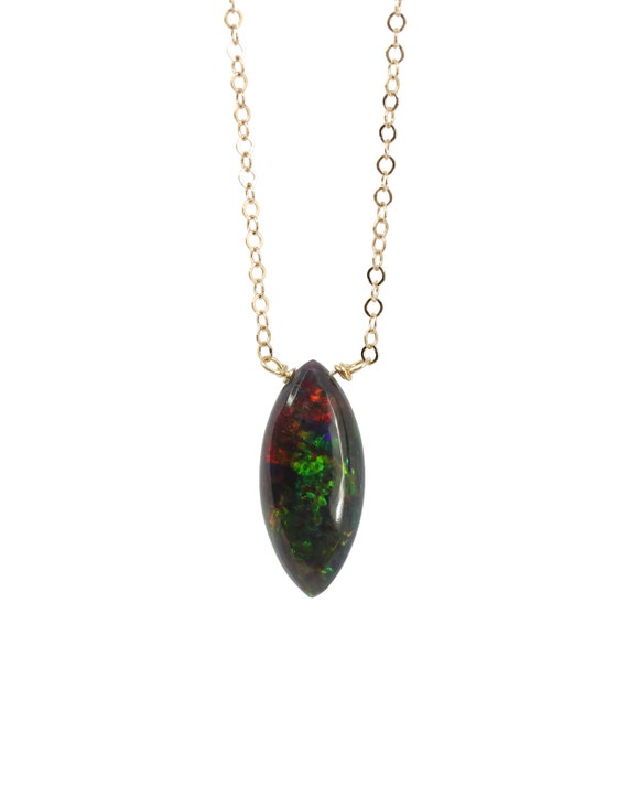 Black Opal Marquise Pendant Necklace-  Ethiopian Welo Black Opal Gemstone Necklace -14K Gold Filled- Mother's Day Gift Idea