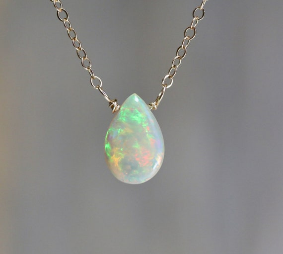 Natural Genuine Opal Gemstone Pear shaped Pendant Necklace 3 Carats *14k Gold FILLED* Ethiopian Welo Opal Solitaire* Mother's Day Gift