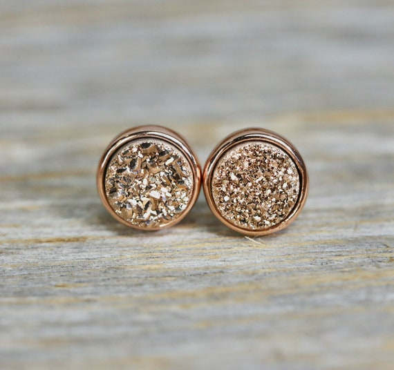 Rose Gold Druzy Quartz Stud Earrings- Rose gold plated Bezel- 8mm- Women's Jewelry Gift Bridal