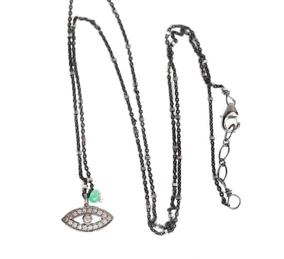 small Pave diamond eye charm necklace diamond oxidized silver evil eye boho glam diamond trend jewelry ruby eye necklace dainty diamond eye