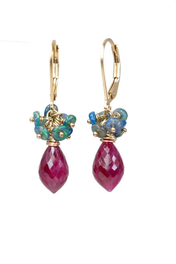Black Opal and Ruby Gemstone Cluster Earrings- July Birthstone Birthday Gift For Her- October Birthstone- 14k Gold Filled