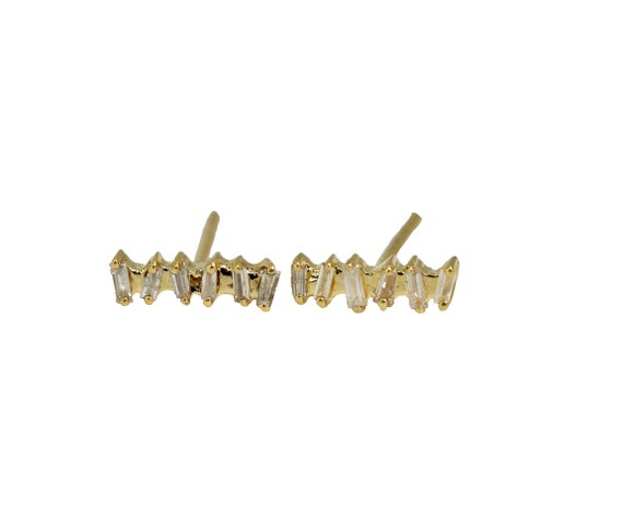 14k Yellow Gold Genuine Baguette Diamond Bar Stud Earring* Diamond Bar Stud *Diamond Staple Stud *Women's Fine Jewelry* Holiday Gift Idea