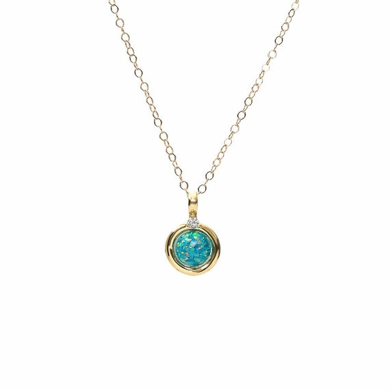 Marine Blue Opal- Round Circle Pendant Necklace-14k gold filled- Women's Jewelry- Graduation- Mother's Day Gift Idea