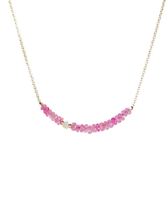 Pink Sapphire Bar Necklace with Rough Raw White Diamond