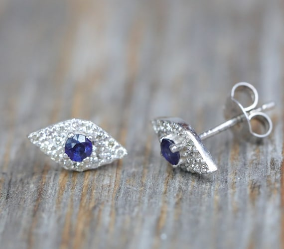 Diamond Eye Stud Earring* solid 14k WHITE gold* evil eye protection8 white diamond eye stud* blue sapphire pupil* fine jewelry gift for her