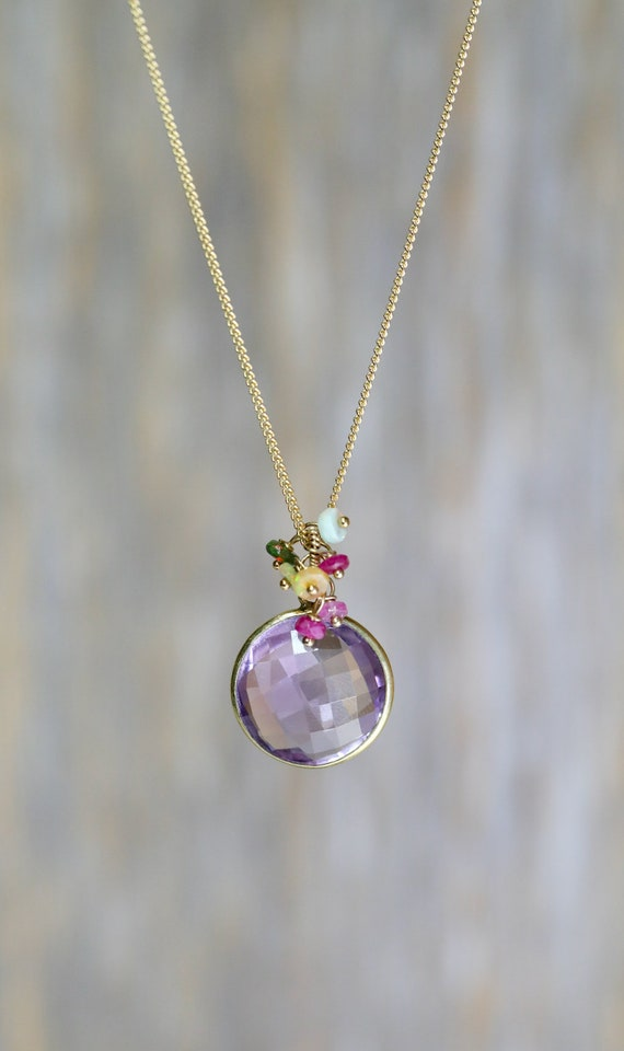 Amethyst Teardrop Pendant Necklace Gift For Her Genuine African Amethyst Gemstone February Birthstone Birthday Gift Idea for Her Women's