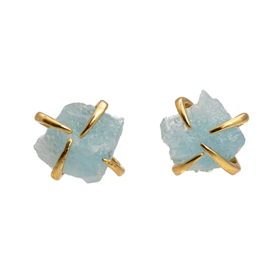 Raw Aquamarine Prong Stud Earring* Genuine Beryl Crystal Gemstone* Gift idea for Her* Women's Jewelry* Holiday Stocking Stuffer Hanukkah