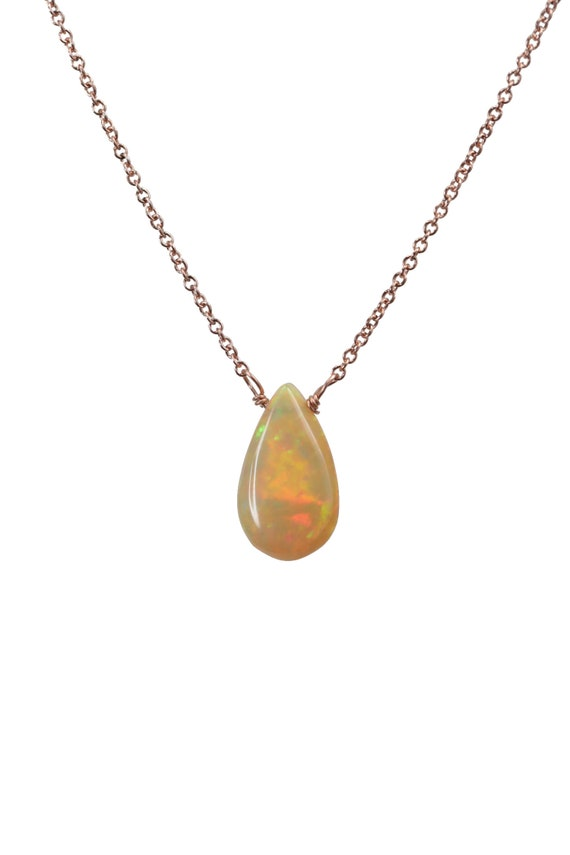 Ethiopian Welo Opal solid 14k Rose Gold Necklace *Genuine Welo Opal Gemstone* Women's Jewelry Gift Idea* October Birthstone*