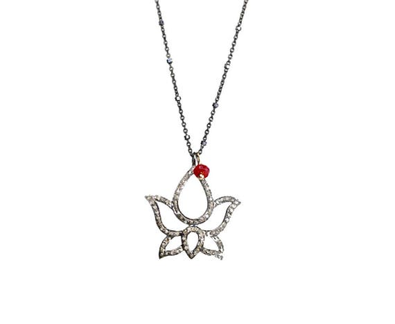 DIAMOND LOTUS NECKLACE Mother's Day gift for her Mom Gift sterling silver diamond pave diamond lotus pendant ruby yoga jewelry Lotus flower