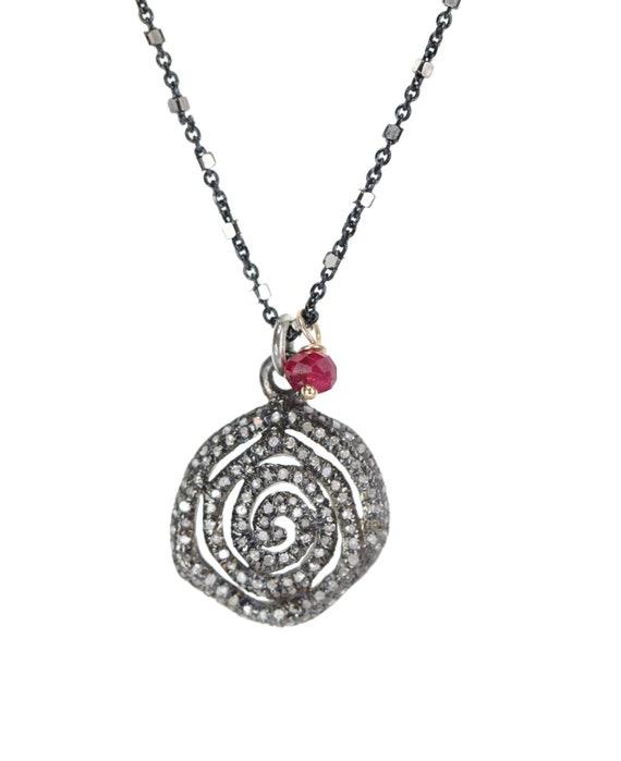 Pave Diamond Infinity Swirl Pendant Necklace