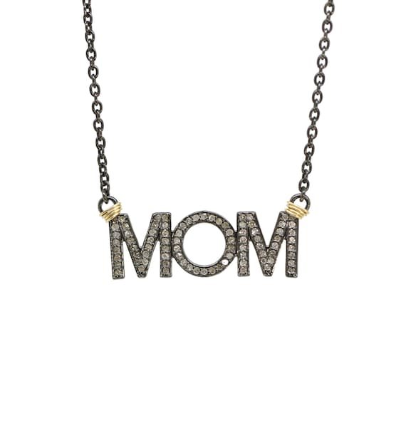 """Pave diamond """"MOM"""" Necklace  Genuine diamond sterling silver MOM pendant Women's Gift Idea* Mother's Day* Mixed metal* Women's Jewelry"""