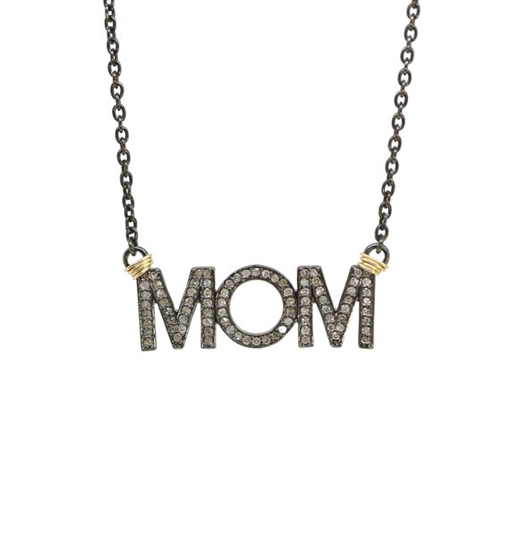 "Pave Diamond ""MOM"" Pendant Necklace"