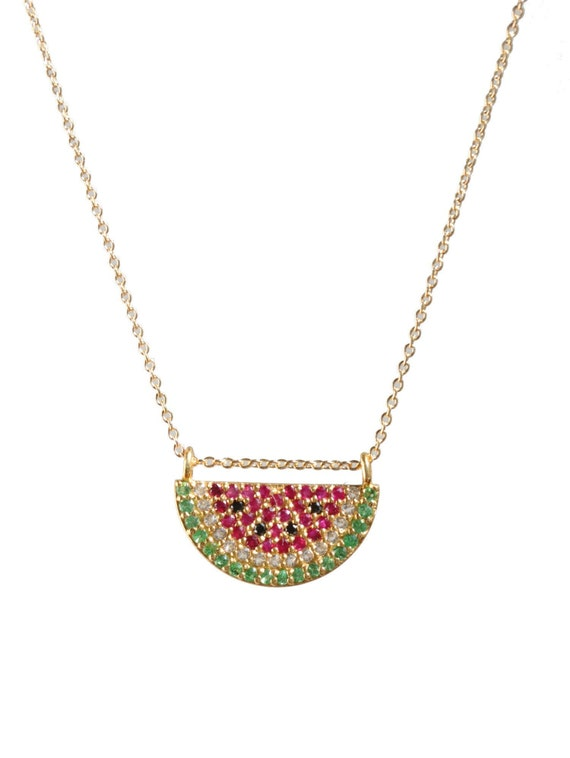 Watermelon Shaped Tourmaline Gemstone Necklace- Watermelon Slice Necklace- Pave Gemstones- Women's Jewelry Gift Idea
