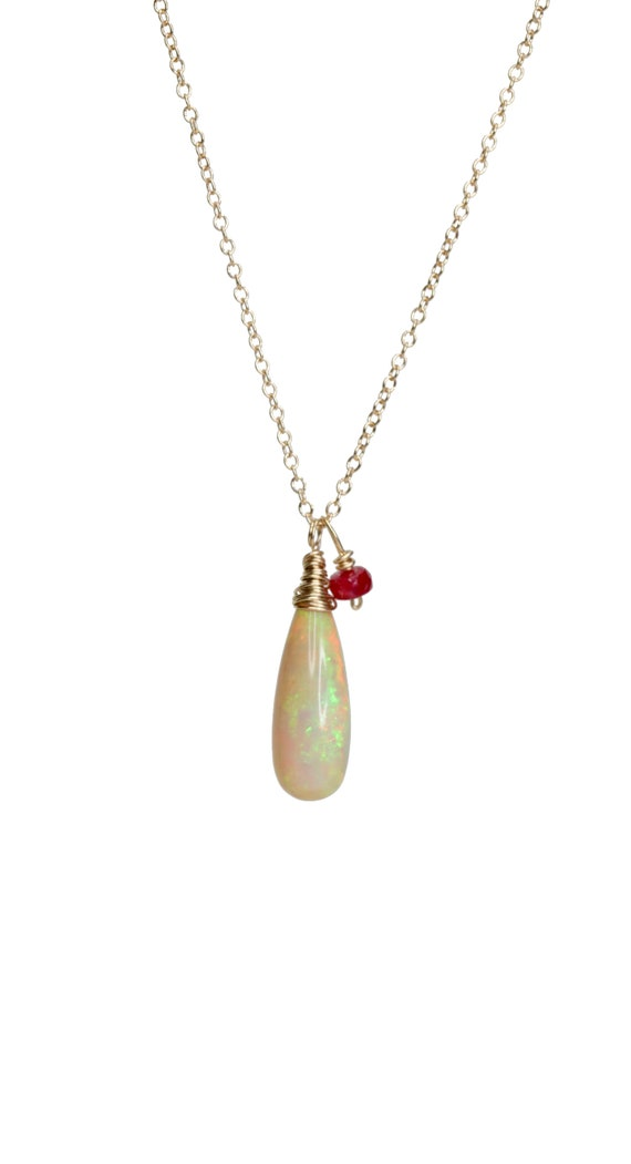 Natural Opal Teardrop Necklace Honey opal Ethiopian Opal untreated ruby 14K gold October birthday gift for her October birthstone