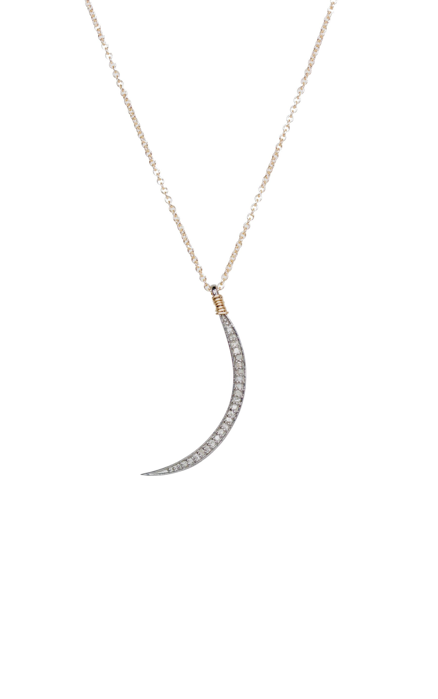 90f7bc4e7bb56 Diamond Thin Crescent Moon Necklace Delicate Mixed Metal Sterling ...