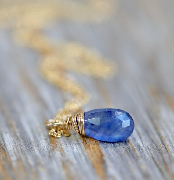 Blue Sapphire Drop Necklace Genuine Blue Sapphire September Birthstone Gift Idea For Her Women's