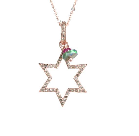 Rose Gold Diamond Star Necklace* Gift for Her* Graduation* Mother's Day *14k Rose gold over sterling silver* Black opal ruby gemstones
