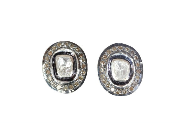 Genuine Oval Diamond Stud Earring- Rose Cut Polki Diamonds- Sterling Silver Mixed Metal- Women's Jewelry-Birthstone Birthday-Gift Idea