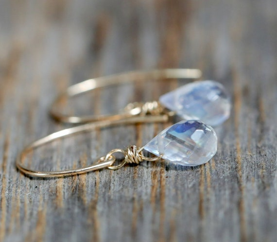 Rainbow Moonstone Gemstone Teardrop Earring June Birthstone Gift Idea for Her Women's Jewelry 14k Gold Filled