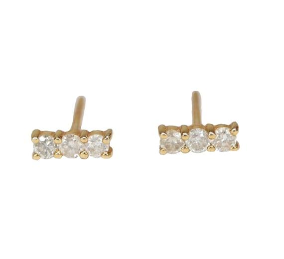 Genuine 14k Diamond Bar Stud Earring