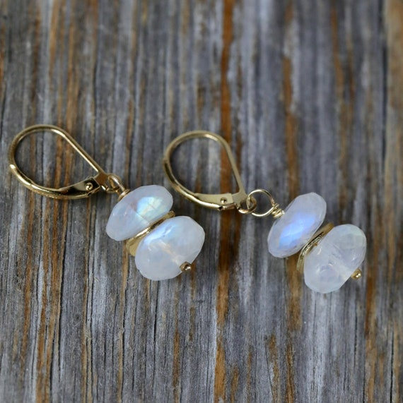 Rainbow Moonstone elegant modern earrings 14k gold filled Gift For Her June birthstone