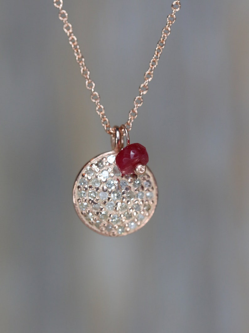 f00f7e1a22028 Rose Gold Diamond Disc Necklace Pave diamond pink gold ruby disc necklace  Gift for Her Pendant Necklace