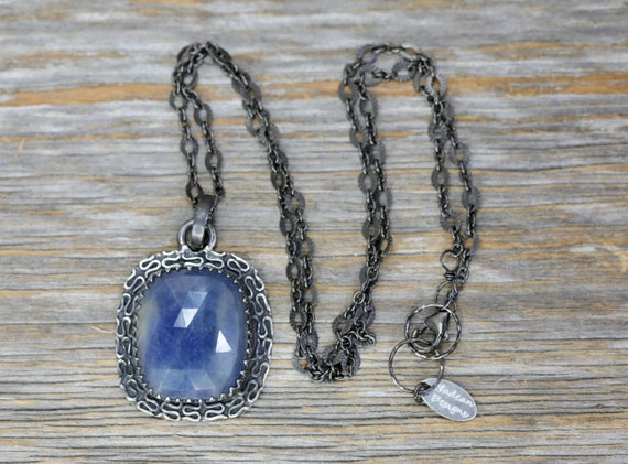 Blue Sapphire Pendant Necklace- Oxidized Sterling Silver- Women's Jewelry- Mother's Day Gift Idea