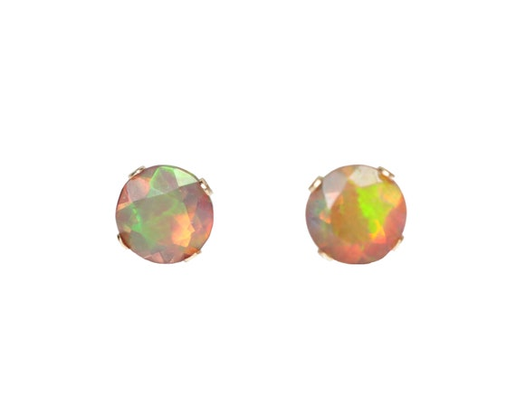 14k Gold Black Opal Stud Earring- 5mm- solid 14k yellow gold- Ethiopian Welo Opal- Faceted Opal Gemstone Stud Earrings