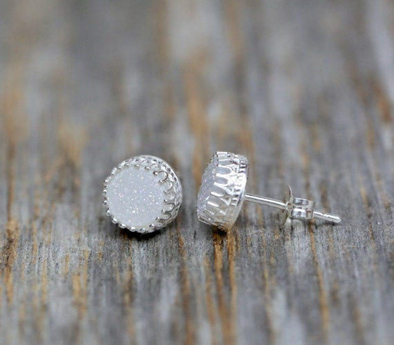 White Druzy Quartz Earrings 6mm