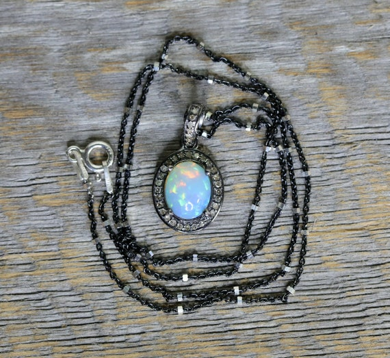 Opal Diamond Oval Pendant Necklace*Ethiopian Welo Opal*925 Sterling Silver*Pave Diamonds*October Birthstone Birthday Gift Idea for Her