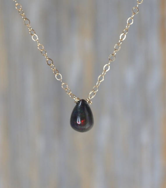 Black Ethiopian Opal Teardrop Necklace October birthstone October birthday gift for her 14k gold filled