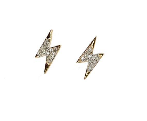 Lightning Bolt Stud Earrings *14k Gold pave diamond stud* solid 14k Yellow gold* dainty bolt stud earring* Holiday Gift for Her* On Trend