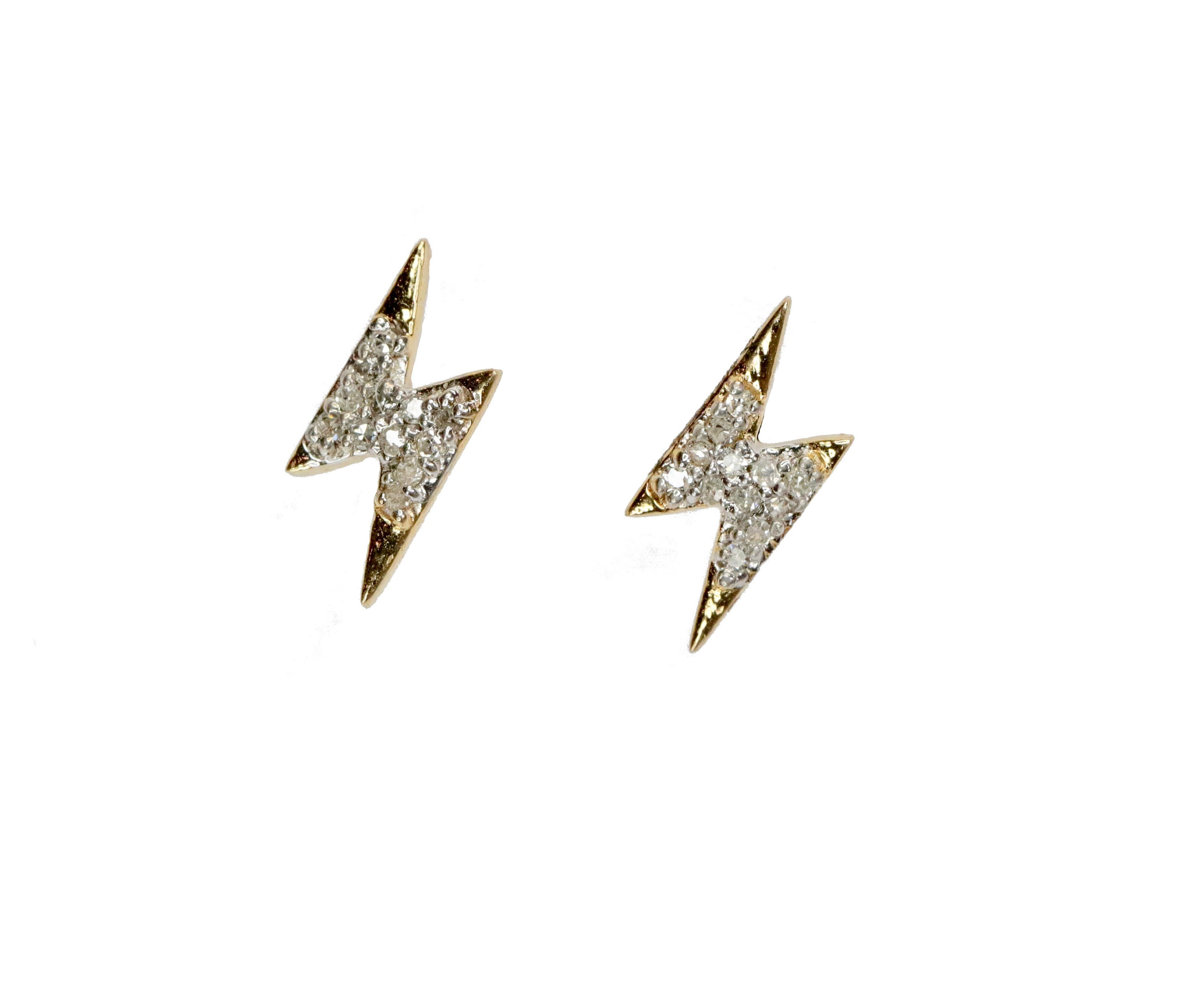 Lightning Bolt Stud Earrings 14k Gold Pave Diamond Stud Solid 14k Yellow Gold 14k Rose Gold Dainty Bolt Stud Earring Holiday Gift For Her