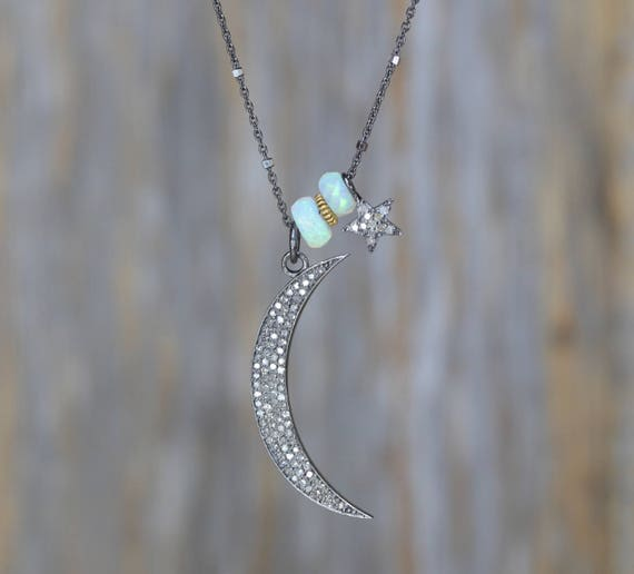 Diamond moon necklace opal necklace sterling silver beaded crescent moon necklace celestial jewelry Ethiopian opal gemstone gift for her