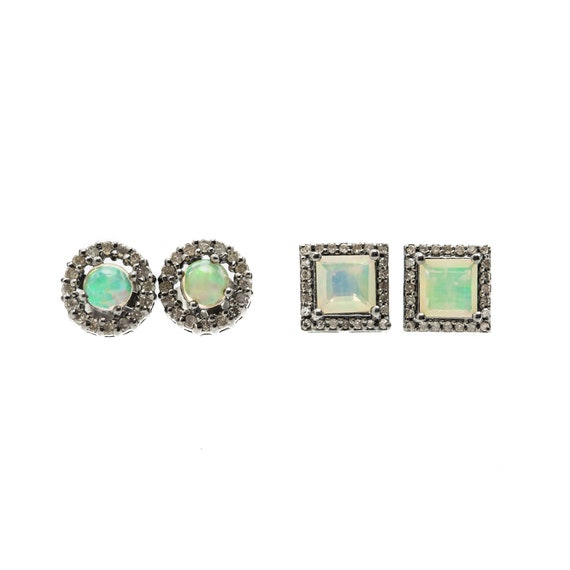 Opal Stud Earrings* Genuine opal Pave Diamond* Natural Ethiopian Opal Gemstones* Round Square Shape Options 7-8mm- Valentine's Day Gift Idea