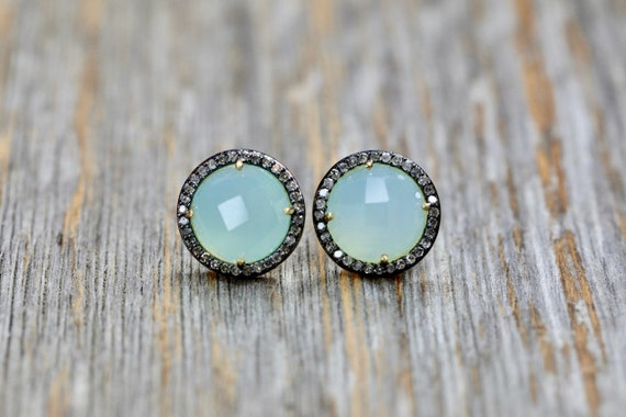Aqua Gemstone Stud Earring Diamond halo aqua chalcedony earring sterling silver gift for Her pave diamond aqua blue halo stud