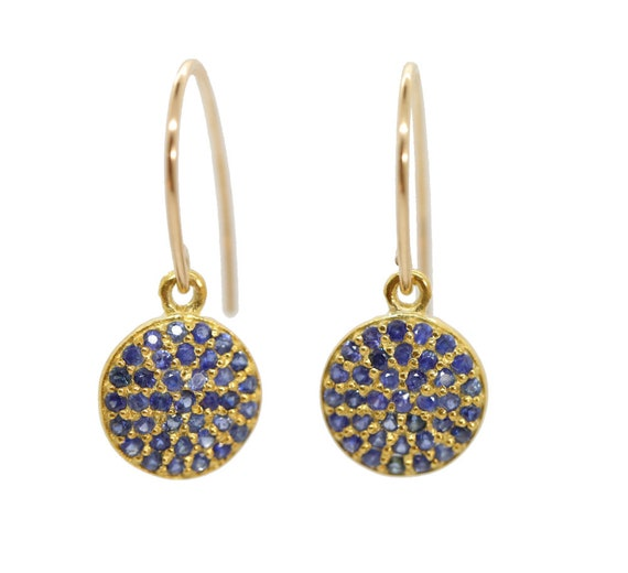 Blue SAPPHIRE Disc Earrings*Genuine Blue Pave Sapphires 14k gold sterling silver*September Birthstone Birthday Gift for Her Women's Jewelry