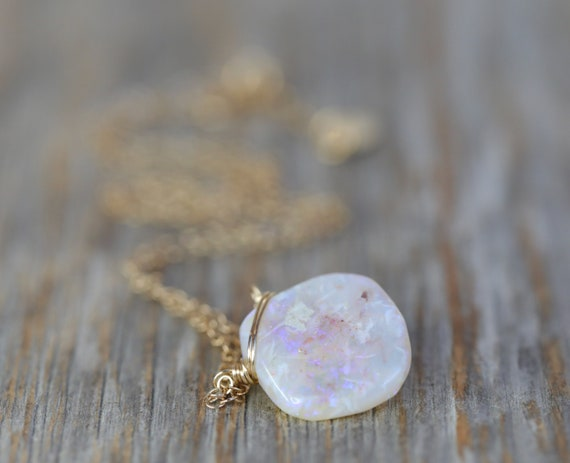 Australian Opal Pendant Necklace- 14k gold filled- October Birthstone October Birthday Gift Idea Gift for Her Purple Pink color play