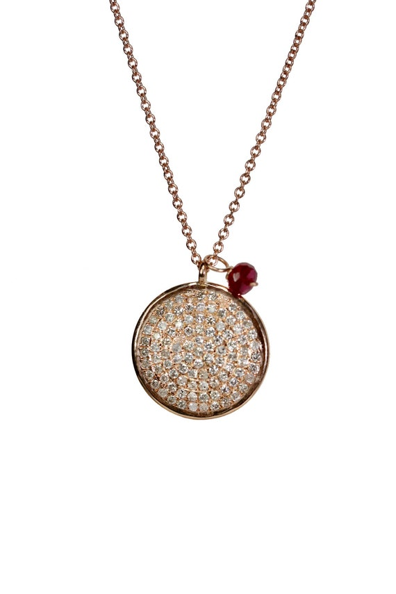 14k Rose Gold Pave Diamond Disc Necklace - white diamonds (.34cts)- gift for her- Valentine's Day Gift Idea