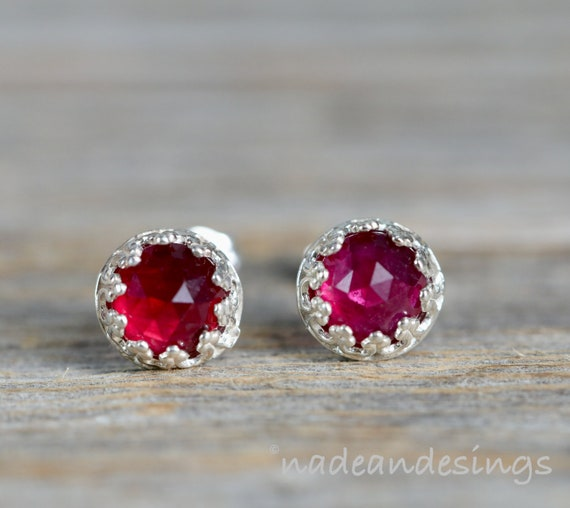 Ruby Gemstone Stud Earring Sterling Silver July Birthstone Ruby stud Earring Gift for Her 7mm elegant stud earring July birthday