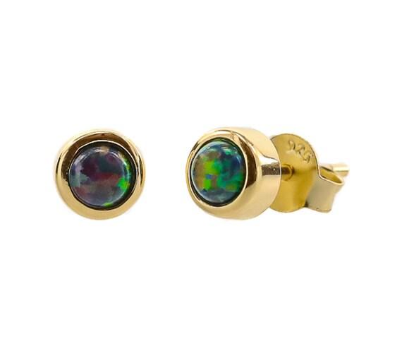 Black Opal Gemstone Stud Earring*Gold Vermeil Bezel Set *4mm OPAL STUD EARRING* Synthetic Opal* Mother's day Women's Jewelry Gift Idea