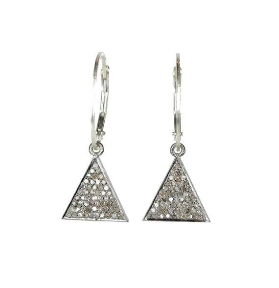 Diamond Triangle Earring On Trend Geometric pave diamond drop earrings modern elegant gift for her wedding sterling silver oxidized silver