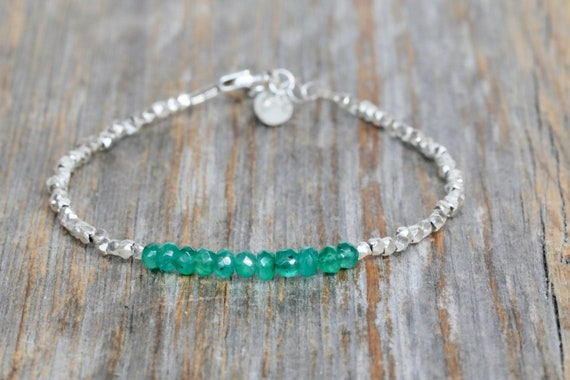 Emerald Bracelet* Genuine Colombian Emerald Fine Silver Bracelet *Hill Tribe*Green gemstone wrap bracelet*May Birthday May Birthstone