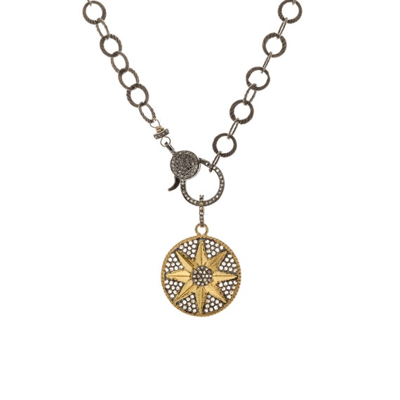 Diamond Star Medallion Necklace- Mixed Metal- Diamond Clasp- Removable Pendant- Oxidized Sterling Silver- 14k Gold Vermeil Genuine diamonds