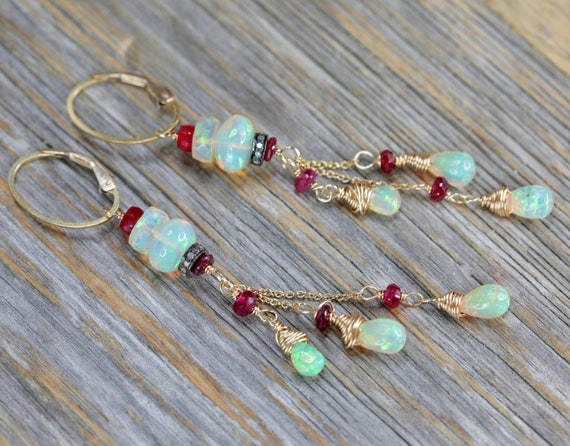 fire opal cascade earring ruby gemstone earring gift for her earring for bride October birthstone womens gift white opal welo opal beaded